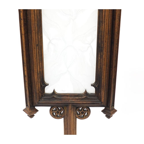 2022 - Pugin style Gothic floor standing screen with etched glass panel, 125.5cm high...