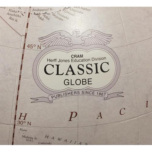 2002 - Floor standing Cram classic globe by Herff Jones, education division, 116cm high...