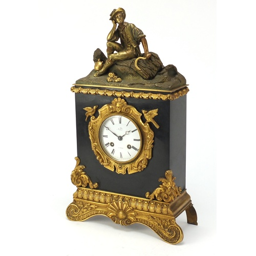 60 - 19th century French Ormolu and black slate figural shelf clock with silk suspension by Pickard, havi...