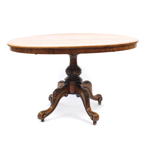 2053 - Victorian walnut quarter veneered tilt top breakfast table, 71cm H x 120cm W x 86cm D...