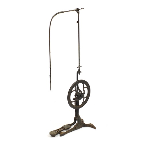 59 - Antique dentists treadle drill with cast iron base, 128cm high...