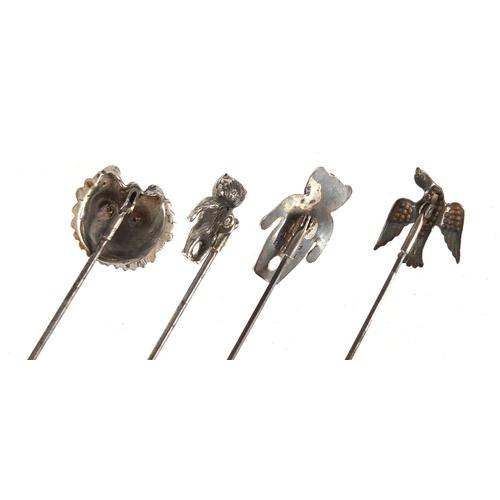 2 - Four rotating silver hat pins including two teddy bears and a dog head, one by Adie & Lovekin Ltd Bi...