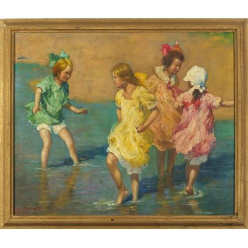 2031 - Manner of F M Boggs - Children paddling in the sea, oil on board, framed, 54cm x 45.5cm