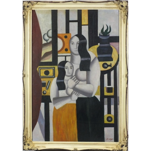 2030 - Manner of F Leger - Abstract composition, two surreal figures, French Impressionist oil on board, fr...