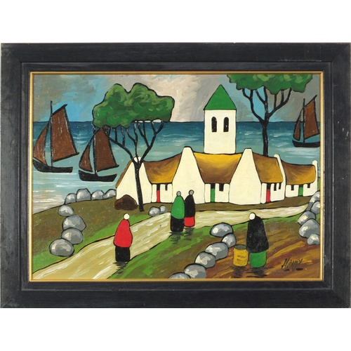 2032 - Manner of Markey Robinson - Figures before cottages and water, Irish school oil on board, framed 45....