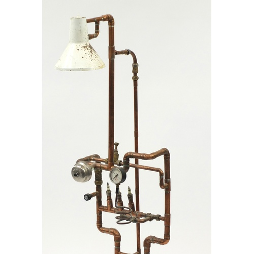 2017 - Vintage industrial style copper pipe work floor standing lamp, 142cm high...