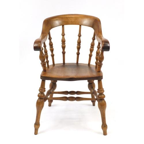 2016 - Beech and elm smokers bow armchair, 88cm high