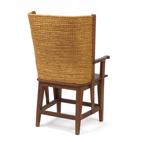2001 - 19th Century oak Orkney child's chair with rush seat, 85cm high