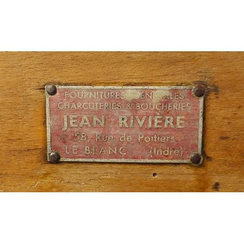 2012 - Vintage pine butcher's block with Jean Riviere metal plaque, 79cm H x 41cm w x 41cm D