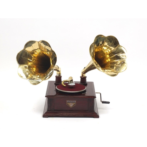 2047 - Retro Victrola style gramophone with two brass horns, 67cm high...
