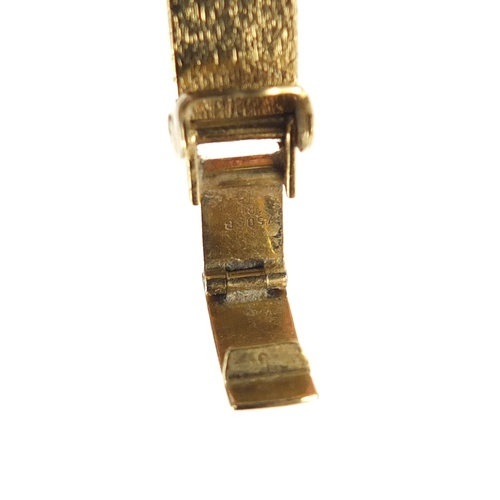 2517 - Ladies 18ct gold Bucherer diamond set wristwatch with 18ct gold strap, 30.2g...