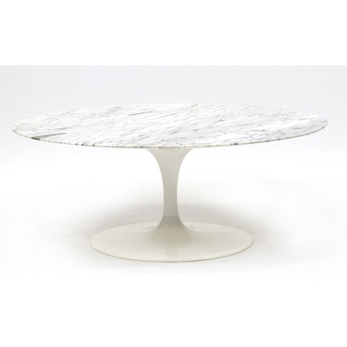 2043 - Contemporary oval tulip table with marble top, possibly Eero Saarinen for Knoll, 42cm H x 105cm W x ...