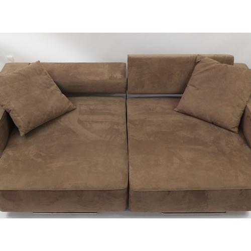 2051 - Contemporary tan suede sofa bed, 248cm wide...