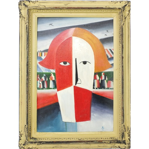 2032A - Manner of Malevich - Surreal composition, Russian school, oil on board, framed, 71cm x 45cm...