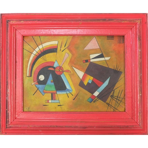 2026 - Manner of Wassily Kandinsky - Abstract composition, Russian school oil on board, framed, 39cm x 28.5...