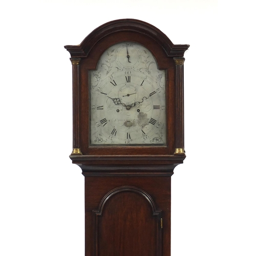 24 - 19th century oak longcase clock with eight day movement by William Reed of Chelmsford and silvered d...