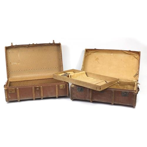 2027 - Two vintage wooden bound travelling trunks, 32cm H x 94cm W x 53cm D...