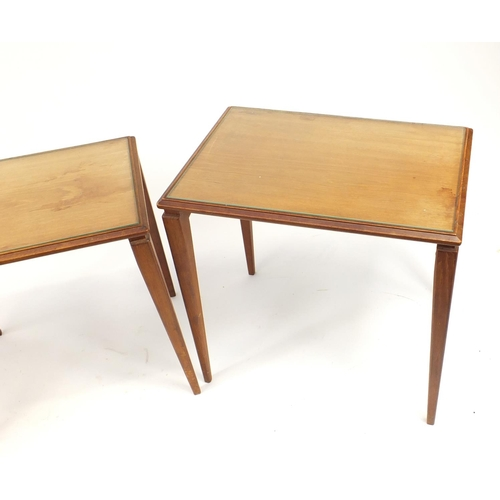 2014 - Nest of three mid century teak occasional tables with glass tops, the largest 50cm H x 53cm W x 37.5...