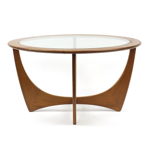 2003 - Circular G-Plan E Gomme coffee table with glass top, 45cm high x 84cm in diameter...