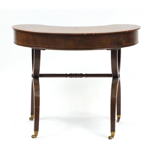 2002 - Edwardian inlaid mahogany kidney shaped side table with X shaped legs, 70cm H x 85cm W x 45cm D...