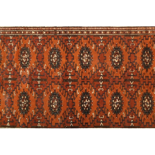 2023 - Afghan brown ground rug with all over geometric design, 190cm x 125cm...