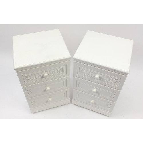 2033 - Pair of cream painted three drawer bedside chests, 79cm H x 45cm W x 41cm D...