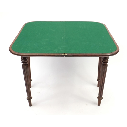 2031 - Victorian mahogany folding card table with beize lined interior, 75cm H x 90cm W x 45 cm D...