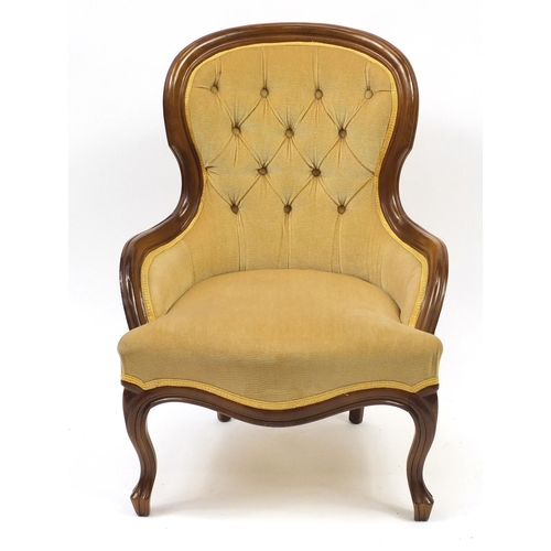 2016 - Mahogany framed bedroom chair with gold button back upholstery, 83cm high...