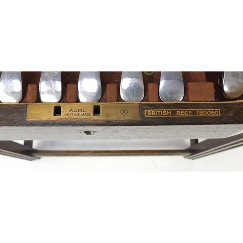 2010 - Art Deco oak canteen table housing cutlery, 73cm H x 52.5 W x 41.5D...