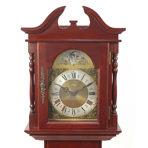 2007 - Mahogany long case clock with moon face dial, 185cm high...