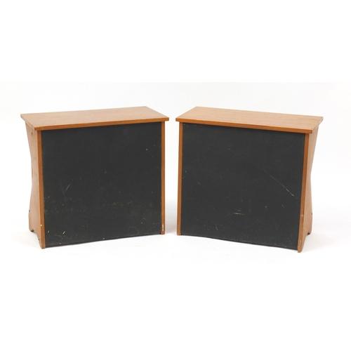 2029 - Pair of teak and black leatherette magazine racks, 39cm H x 43.5cm W x 22.5cm D...
