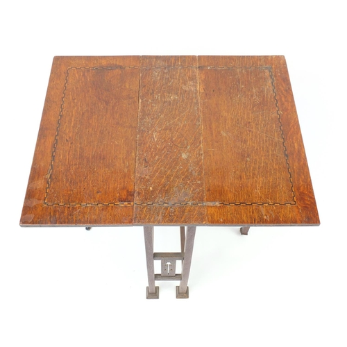 2044 - Arts & Crafts Liberty style inlaid oak Sutherland table, 61cm high...