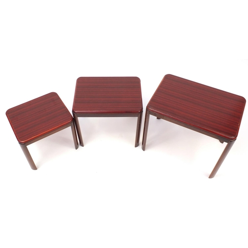 2041 - Nest of three Malaysian occasional tables, the largest 48cm H x 55cm W x 38cm D...