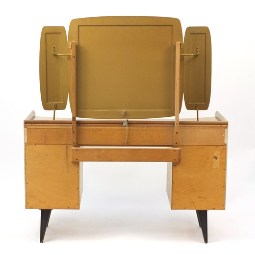 2040 - Vintage Light wood dressing table with mirrored back and matching three drawer chest by Link Lebus F...
