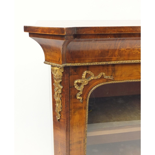 25 - Victorian inlaid burr walnut pier cabinet with gilt metal mounts and canted corners, 105cm H x 95.5c...