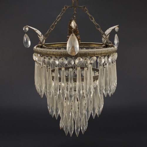 2035 - Three tier brass bag chandelier with cut glass drops, 29cm in diameter...