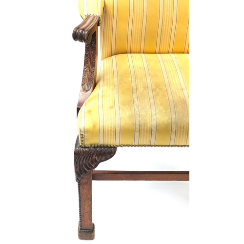 2020 - Pair of mahogany framed Gainsborough chairs, with yellow striped upholstery, 102cm high...