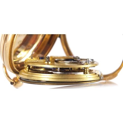 39 - Victorian 18ct gold fusée pocket watch by William Gibbs, hallmarked Sheffield 1844, 4.5cm in diamete...