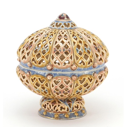 59 - Zsolnay Pecs pierced Hungarian pottery potpourri bowl and cover, 19cm high...