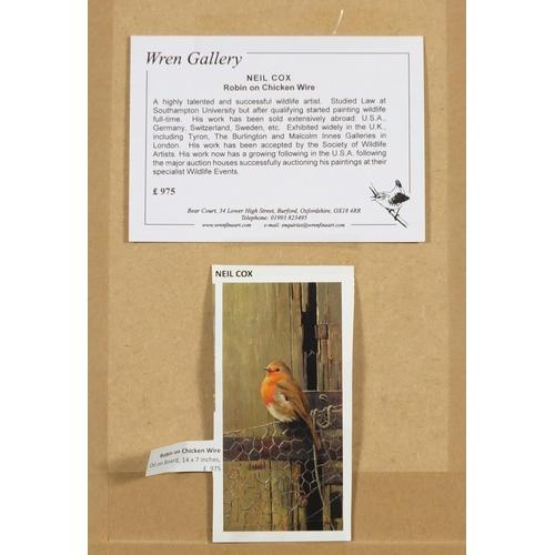 44 - Neil Cox - Robin on Chicken wire, oil on board, Wren Gallery details verso, framed, 35.5cm x 17.5cm...
