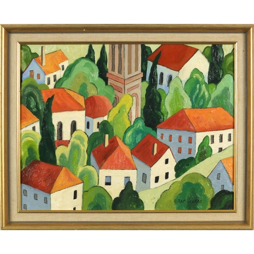 45 - Townscape with trees, Russian school oil on board, bearing a cyrllic signature, mounted and framed, ...