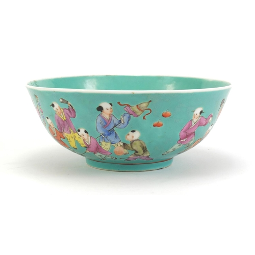 6 - Chinese porcelain bowl, hand painted with children onto a turquoise ground, six figure character mar...