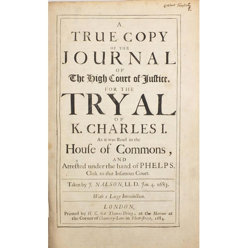 391 - True copy of the journal of the High Court of Justice for the Tryal of King Charles I, late 17th cen...