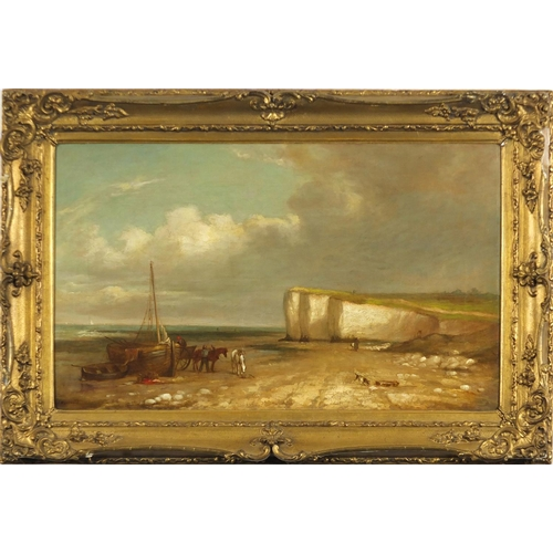 20 - Joseph W Yarnold - Coastal scene with moored fishing boat and horse drawn cart, 19th century oil on ...