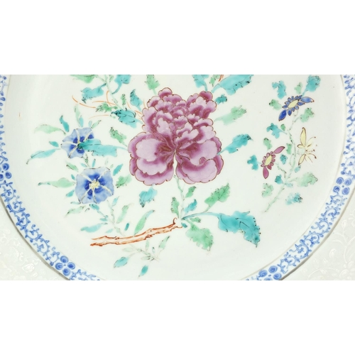 7 - Good pair of Chinese porcelain chargers, each finely hand painted in the famille rose palette with f...