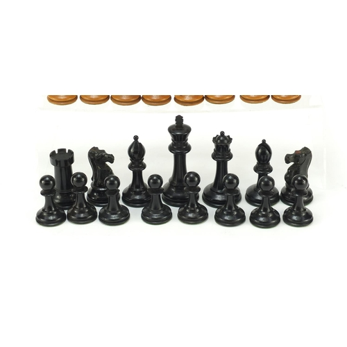 51 - Boxwood and ebony Staunton part chess set, possibly by Jacques, the largest 10cm high...