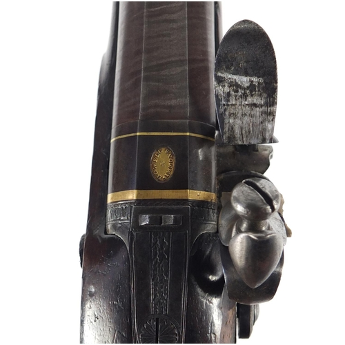 54 - Good 18th century walnut flintlock overcoat pistol by Howell & Simmons with rifled Damascus barrel, ...