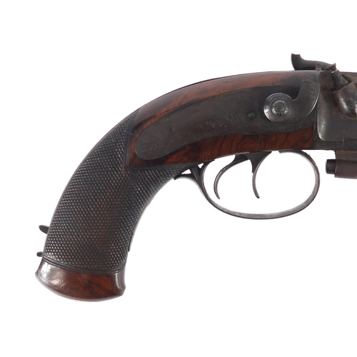 55 - Good early 19th century Irish walnut percussion over and under pistol by Kavanagh, with capacity in ...