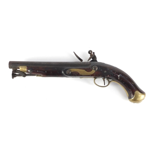 56 - George III military walnut tower flintlock holster pistol, the side plate stamped Tower GR, 40.5cm i...