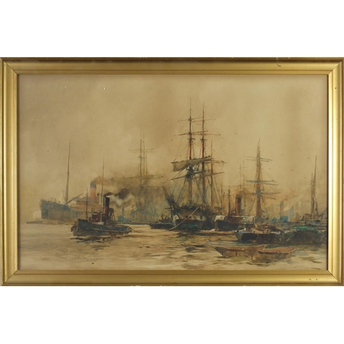 18 - Charles Dixon 1894 - Tug boats pulling masted vessels with ocean liner, heightened watercolour, fram...